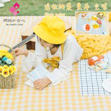 inssh黄白格户外oh机洗野餐垫加厚便携防潮垫防水野炊野餐布