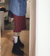 UN红sh格子半身裙ie式春季复古vintage古着高腰外穿a字长裙子