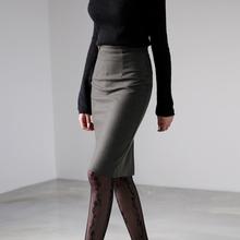 毛呢半sh裙女秋冬短ni高腰职业包臀裙中长式灰色冬季一步裙子