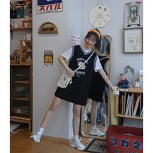 青蔷薇sh袖连衣裙女ni20年春夏新式运动风V领印花学生休闲裙子