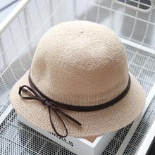 蝴蝶结sh帽女女士盆ra女夏季遮阳帽春秋渔夫帽太阳帽海滩帽潮