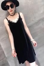新款中长款金sh3绒吊带裙ra宽松显瘦背后蕾丝美背打底裙