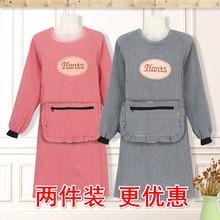纯棉罩sh长袖反穿衣ra用厨房定制日式韩款大的可爱女男麻
