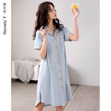 睡裙女sh睡衣裙子夏nd短袖全棉夏天薄式衬衫开衫长式长裙大码