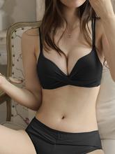 夏季女sh胸聚拢显大dz性感平胸专用文胸内裤一套装
