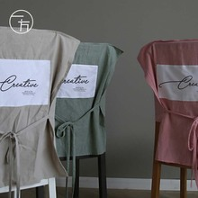 北欧简sh纯棉餐ines家用布艺纯色椅背套餐厅网红日式椅罩