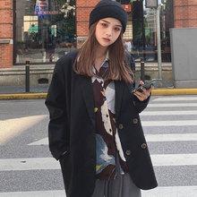 罗百万sh2019新ng网红春秋(小)西装外套女西服上衣英伦风女装潮
