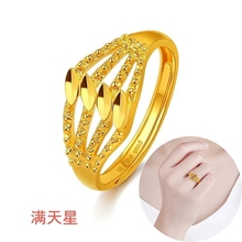 新式正sh24K女细pp个性简约活开口9999足金纯金指环