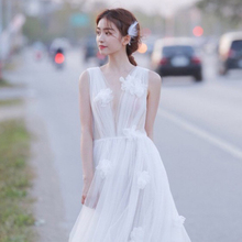 森系轻sh纱旅拍简约po020新式梦幻出门纱写真白纱日常轻纱礼服