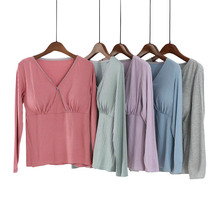 莫代尔sh乳上衣长袖ou出时尚产后孕妇喂奶服打底衫夏季薄式