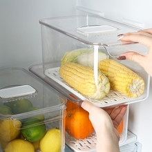 冰箱收sh盒抽屉式厨al果蔬冷冻塑料储物盒神器食品整理保鲜盒