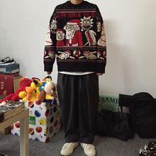 岛民潮shIZXZ秋qs毛衣宽松圣诞限定针织卫衣潮牌男女情侣嘻哈