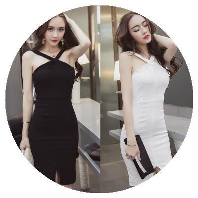 性感夜sh修身女装时qs开叉漏背连衣裙夜场(小)礼服2020春夏新式