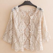 夏季薄sh七分袖披肩kw式纯色蕾丝坎肩外套女装开衫镂空防晒衣