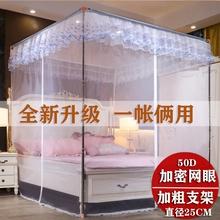 家用三sh宫廷落地蚊in式坐床式加密纱帐1.5m1.8m床不锈钢支架