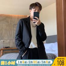 ONEshAX春季新du黑色帅气(小)西装男潮流单排扣宽松绅士西服外套