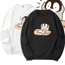 灰企鹅shんちゃん日iu元上衣男女学生套头情侣圆领卫衣服外套