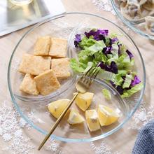 钢化玻sh三分格餐盘an子早餐水果沙拉盘子分隔甜品零食圆盘