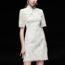 白色气sh修身子短袖cm长式蕾丝连衣裙女装夏装2020新式