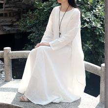 白色棉si连衣裙亚麻me松大码中长式长袖民族风女装旅行长袍子