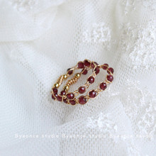 BO丨si作14k包me石石榴石编织缠绕戒指原创设计气质007