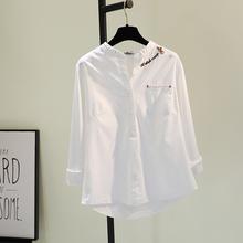 刺绣棉si白色衬衣女er1春季新式韩范文艺单口袋长袖衬衣休闲上衣