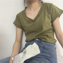 muzsi定制 橄榄er柔白/浅米灰/黑 的手一件的纯棉短袖V领T恤女