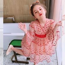女童连si裙夏装20la式宝宝夏季雪纺宝宝裙子女孩韩款洋气公主裙