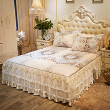 冰丝凉si欧式床裙式na件套1.8m空调软席可机洗折叠蕾丝床罩席