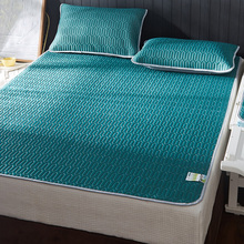 夏季乳si凉席三件套na丝席1.8m床笠式可水洗折叠空调席软2m米