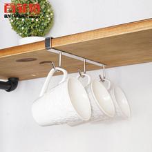 304si锈钢免钉水en杯咖啡杯悬挂架厨具(小)工具收纳架置物架