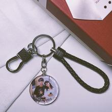 双面照片钥匙扣来图创意定si9diy送en个性高档礼品挂件