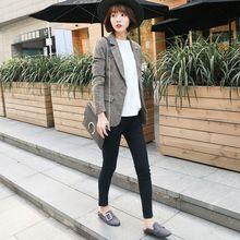 (小)西装si外套202en春秋毛呢新式韩款chic格子复古修身显瘦短式