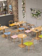 桌椅商si餐厅饭店食en档简易铁艺木餐吧奶茶店售楼处休闲大的
