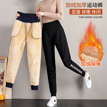 高腰加si加厚运动裤en秋冬季休闲裤子羊羔绒外穿卫裤保暖棉裤