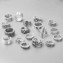 日韩Ssi25素银宽en戒指女复古做旧开口可调节夸张个性创意指环