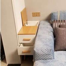 北欧黑胡桃边si3沙发边柜en意现代客厅简约缝隙角几柜储物柜