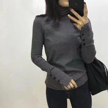 秋装新si韩款高领条gsT恤女修身显瘦袖口纽扣洋气打底衫