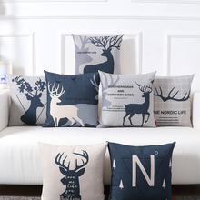 北欧ins沙发客厅(小)麋鹿si9枕靠垫办ve床头靠背汽车护腰靠垫