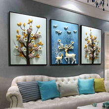 客厅装si壁画北欧沙ve墙现代简约立体浮雕三联玄关挂画免打孔