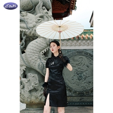 EhKsi中式旗袍 in饰收腰泡泡袖少女复古连衣裙