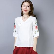 春装2si20女民族ly v领绣花衬衣中国风宽松棉麻七分袖T恤刺绣