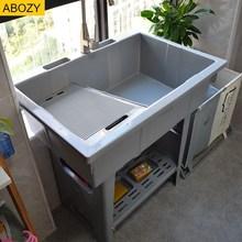 洗衣服si池家用一体ly衣机柜一体盆陶瓷洗衣池带搓板洗