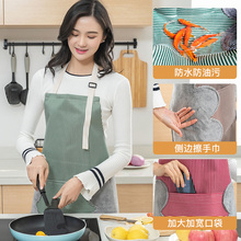 家用可si手女厨房防ly尚围腰日式厨房厨师做饭防水罩衣男