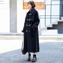 2020冬季si3式超长式sb衣女加厚过膝毛呢外套羊角扣呢子大衣
