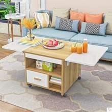 茶几秒si餐桌简易升co可移动活动桌边桌两用茶几可升降带轮。