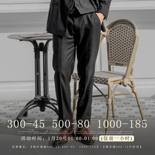 SOAsiIN英伦风ks纹西裤男 英式绅士商务正装直筒宽松西服长裤