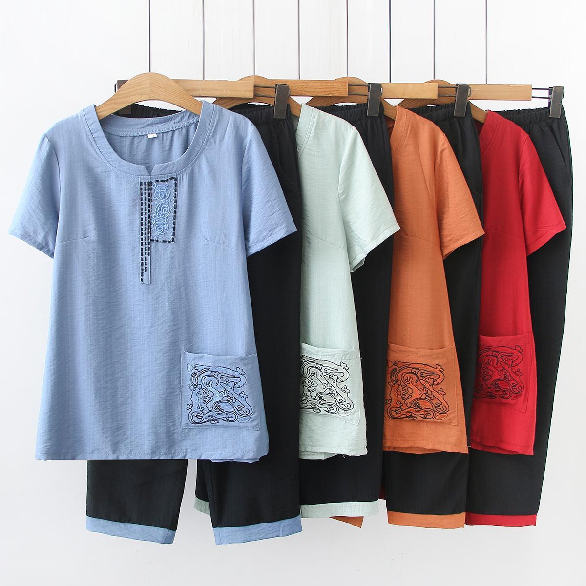 女士夏si新式中老年ks套装宽松短袖T恤女民族风女装休闲长裤