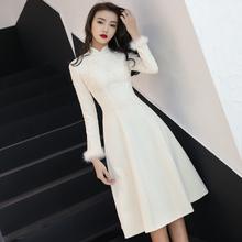 晚礼服si2020新ta宴会中式旗袍长袖迎宾礼仪(小)姐中长式伴娘服