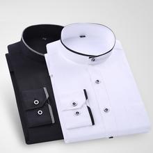 中式白si男士长袖衬ta立领纯色商务休闲寸杉宽松圆中山装衬衫